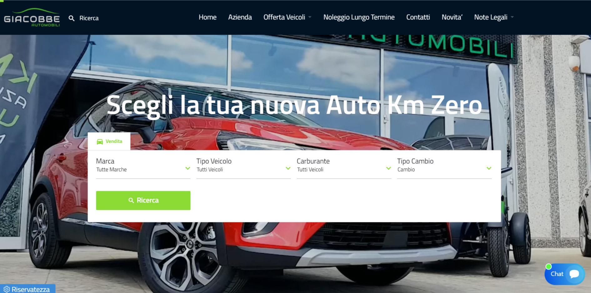 Sviluppo Sito Web Concessionaria Giacobbe Automobili